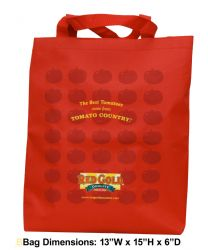 red gold tote bag