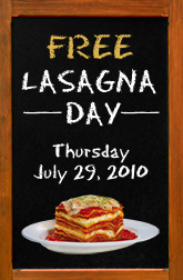 Free Lasagna Day