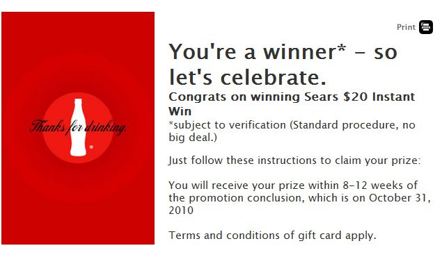 my coke rewards instant win