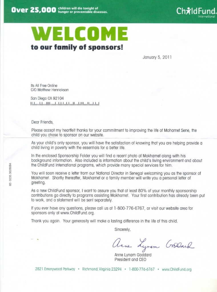 ChildFund Letter