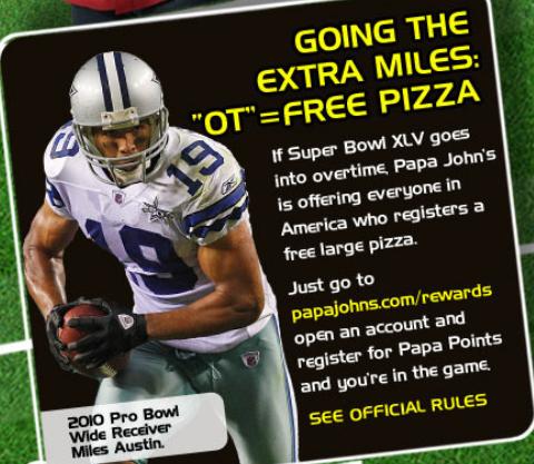 papa john free pizza