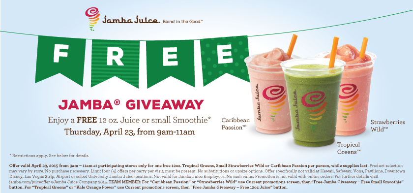 free jamba juice in store