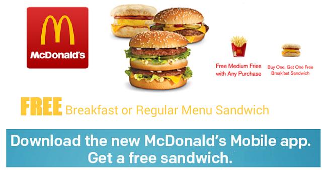 mcdonalds free sandwich