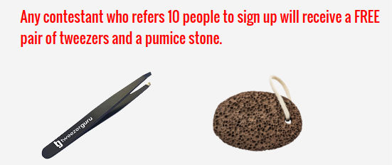 tweezers and pumice stone