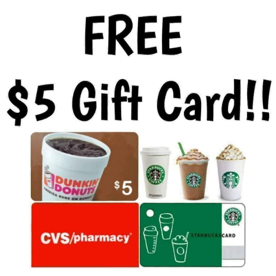 free  5 gift cards to patients and caregivers